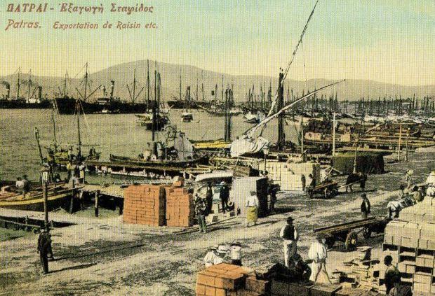 Το λιμάνι της Πάτρας, κατά την περίοδο εξαγωγής σταφίδας, αρχές του 1900